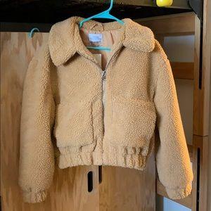 NWOT uo cropped teddy jacket